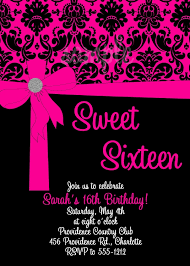 pink u0026 black damask sweet 16 birthday invitation card design idea