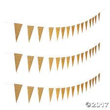 gold glitter paper pennant banner