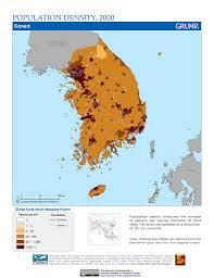 Korea Map Asia by Maps Population Density Grid V1 Sedac
