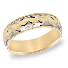 weddings 10k 6 0mm comfort fit scroll wedding band in 10k two tone gold