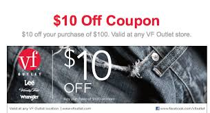 Lee Vanity Fair Outlet Vf Outlet 10 Off 100 Printable Coupon Expires 12 31 2012 Al Com