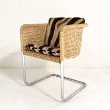 Wicker Chair Harvey Probber Wicker And Chrome Chair With Custom Zebra Cushions