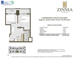 1 bedroom inner znt 42sqm acacia estates