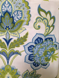 Cynthia Rowley Drapery Blue And Green Floral On White Shower Curtain