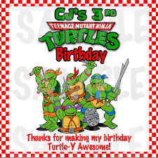 personalized red checker tmnt ninja turtles boys birthday