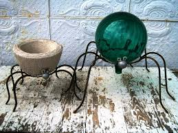 Gazing Globe Stand Wrought Iron Spiders Gazing Ball Holders Pot Holders In 2 Sizes