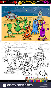 cartoon ufo aliens group coloring page stock photo royalty free