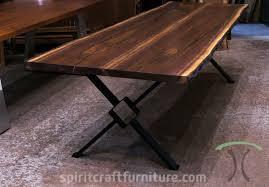 live edge table chicago black walnut live edge table on welded steel legs custom made for