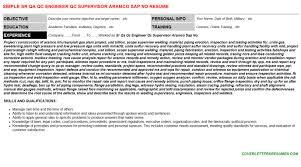 sr qa qc engineer qc supervisor aramco sap no cover letter u0026 resume