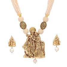 white colour necklace images Jaipur mart lord radha krishna inspired gold plated white colour jpg