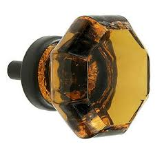 glass cabinet pulls handles amazon com amber octagon leaded glass oiled bronze cabinet knob