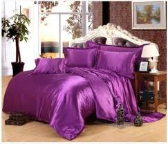 deep purple silk satin bedding set california king size queen full