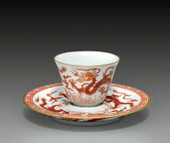 a very rare iron red decorated sgraffiato u0027dragon u0027 cup and saucer