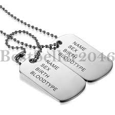 necklace with name ebay images Mens engraving stainless steel army id 2 dog tags military pendant jpg