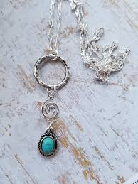 small turquoise pendant necklace images Silver and turquoise pendant necklace dainty silver ring charm jpg