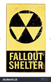 atomic nuclear fallout shelter sign with radiation symbol isolated