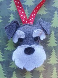 made to order sewn felt schnauzer tree ornament