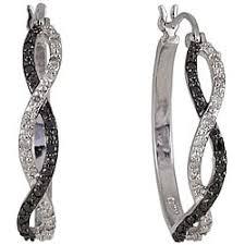 black diamond hoop earrings sterling silver black and white hoop earrings with diamond