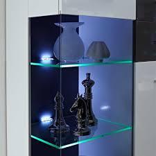 Wohnzimmertisch Led Beleuchtung Hochglanz Wohnwand Higuley In Weiß Grau 310 Cm Pharao24 De