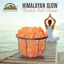 himalayan glow ionic crystal salt basket l basket salt l free candle holders bulbs