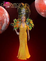 orange pageant gown yellow feathered headdress and brazilian flag