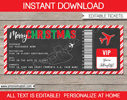 christmas gift boarding pass ticket template christmas present