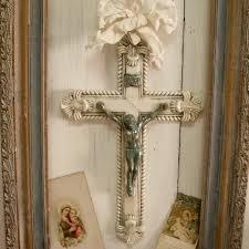 crucifix wall decor vintage aged white fancy crucifix with verdigris jesus