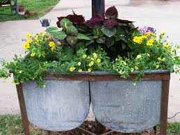 planter made from a double washtub it matches my old washing