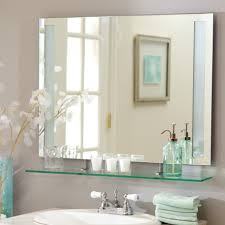 bathroom charming bathroom mirrors with shelves and frameless
