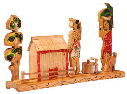 exclusive home decor items showpiece of a village scene handmade in bamboo rustic look
