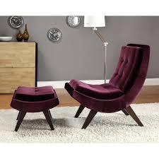 chelsea lane lashay velvet lounge chair u0026 ottoman purple hayneedle