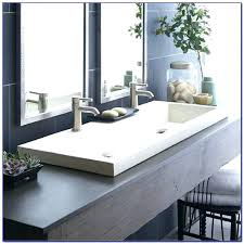 trough bathroom sink beautifully design concrete with one faucet
