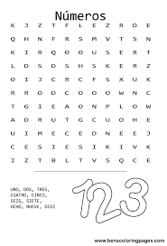 the numbers word search in spanish