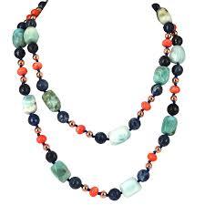 gold long necklace images Coral seas larimar sodalite apricot coral rose gold long necklace jpg