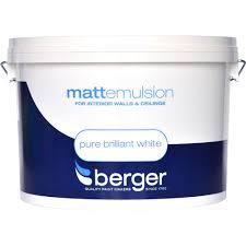 berger matt emulsion brilliant white paint 10 litre white