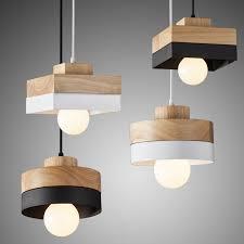 Simple Chandelier Modern Woodenchandelier With Black Iron Beonelighting
