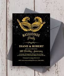 black and gold wedding invitations black gold masquerade 50th golden wedding anniversary