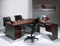 Black Leather Swivel Chairs Great Home Office Furniture With L Shaped Desk Combined Grey