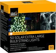 cole bright 50 solar xl bulb string lights co uk garden