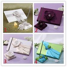 wedding guest book and pen set hot lace flower decor ribbon wedding guest book and pen set