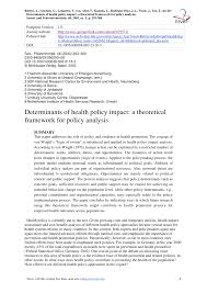 Health Policy Analyst Resume Determinants Of Health Policy Impact A Theoretical Framework For