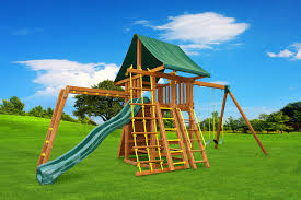 Playsets Outdoor Fantasy 5 Wooden Playset Jungle Gym Cedar Swing Sets And