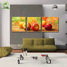 Apple Decor For Home 3pcs Canvas Wall Art Painting Picture Cuadros Apple Fruits