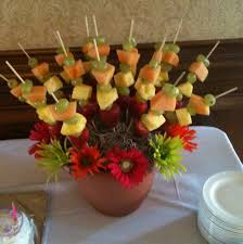 plastic skewers for fruit arrangements inspired by edible arrangements bought the plastic flower pot foam