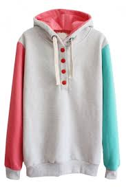special color block button front hoodie with long sleeve