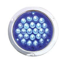 4 inch round led lights pearl blue 4 round 24 diode led utility light in chrome housing