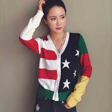 American Flag Cardigan American Flag Knit Sweater For Girls Smile Short Sweaters V Neck