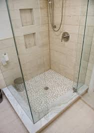 frameless shower highlights beautiful tile work marble base is