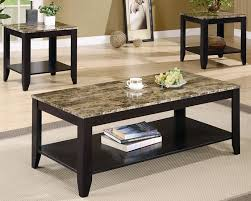 Home Decor Stores Chicago 3 Piece Occasional Table Set With Shelf And Marble Look Top By