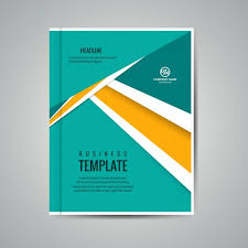 turquoise and yellow business booklet vector free download